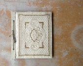 Vintage Scrapbook Album, Cream Off White and Gold Embossed Unused Blank Photo Album Book, 1930s 1940s Shabby Chic Decor
