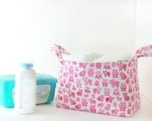 Fabric Storage Basket - Diaper Caddy -New Baby Gift - Gender Neutral - Storage Basket - Farm Nursery Decor - Pig Nursery Decor