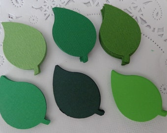 100 Mixed Green Leaf Paper Die Cuts - Confetti - Scrapbooking Embellishments - Jungle Party Supplies - Woodland Wedding - Table Scatter