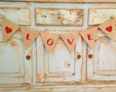 Love banner, REVERSIBLE Valentines Day/St. Patricks Day Banner - Burlap Pennant - LOVE & LUCK