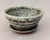 Pottery Berry Bowl - Charcoal Gray Glazed Terracotta Colander