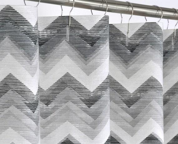 "108 WIDE Shower Curtain - Gray & Black Chevron - 108"" Wide x 72, 78 ..."