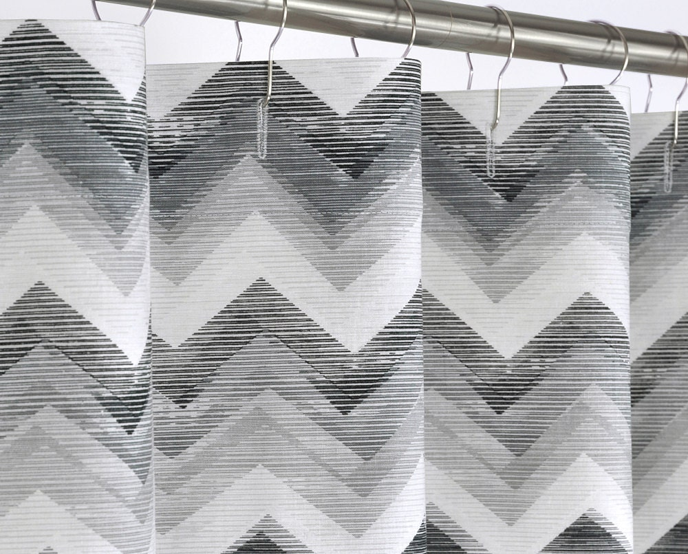 108 Wide Shower Curtain Gray Amp Black Chevron 108 By Pondlilly
