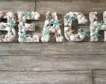 BEACH Signs, Beach Letters, Seashell Letters, Beach Lovers Gifts, Custom Letters, Decorative Letters, Wall Letters, Coastal Decor,