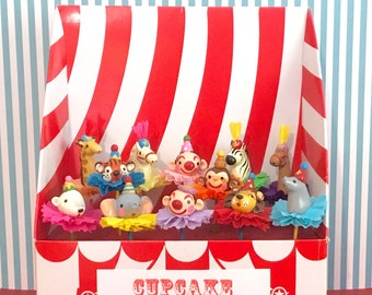 One Dozen Circus Cupcake Toppers/Cake Toppers