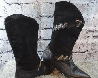 vintage RUSH HOUR black leather suede metal womens boots 6.5M