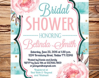 Watercolor flowers Bridal Shower Invitation, watercolor turquoise stripes, gold, glitter confetti, wedding, peonies bridal shower, 5353