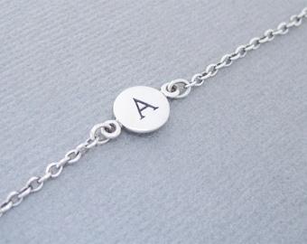 "Initial ""A"" Bracelet, Silver Initial Bracelet, Letter A Bracelet, Initial A, Initial A Bracelet"