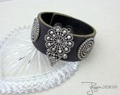 Black Leather Bracelet - Cut Steel Bracelet - Repurposed Cut Steel - Vintage Repurposed Bracelet - Unique Jewelry