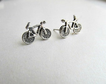 Bicycle Stud Earrings Silver, Triathalon, cyclist earrings, Outdoor earrings