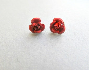MINI/TINY Stud Red Queens Rose Earrings Alice in WOndERLand Style For infants and Todlers