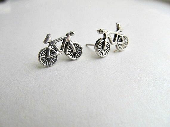 Bicycle Stud Earrings Silver, Triathalon, cyclist earrings, Outdoor earrings
