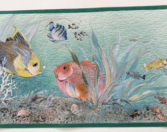Seascape Fish Ocean Aquarium Embossed Prepasted Wall Border for Scrapbooking,Crafts