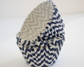 Navy Blue Chevron cupcake liners (approx 40 ct) - New THICKER style! - Whimsical baking muffin cups greaseproof bulk cupcake papers