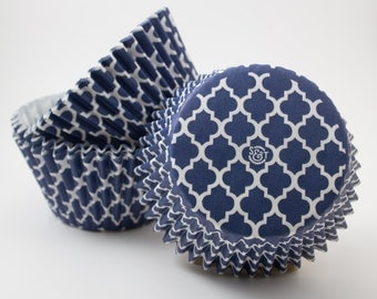 Navy Quartrefoil cupcake liners (approx 40 ct) - Patterned baking muffin cups greaseproof bulk cupcake papers
