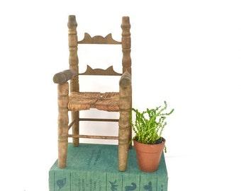 Vintage Doll Chair, Ladderback, Dollhouse Furniture