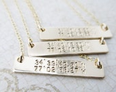 Latitude Longitude Necklace - Horizontal Bar Necklace - Gold Bar Necklace - Custom Coordinates - Custom Latitude Longitude