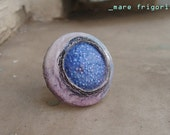 mare frigoris - sea of cold ooak adjustable clay ring polystyrene pastel hues blue violet