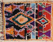 FREE SHIPPING WORLDWIDE T24190 vintage boucherouite rug, moroccan rugs , rag rug, berber tribal art, morocco carpets, wall art