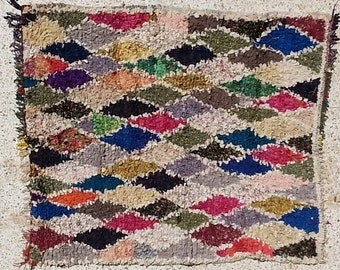 FREE SHIPPING WORLDWIDE TT22215 vintage boucherouite rug, moroccan rugs , rag rug, berber tribal art, morocco carpets, wall art