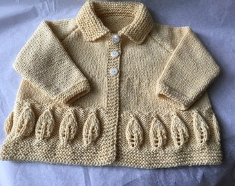 "Warm Yellow  100% Cashmere Baby Matinee Coat  with leaf design border 20"" chest  up to 9+ months- Ready to Ship"