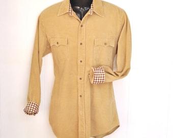 Vintage Corduroy Shirt Check Print Cuff Men's Medium Womens Large Cord Boho 1980's Natural Light Tan Cotton Jacket