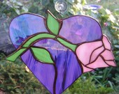 HEARTS and ROSES, Stained glass, VALENTINE with Pink Rose, Suncatcher, violet, pink, green, iridescent, interior home decor, Love