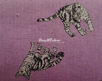 Cats, light purple, 1/2 yard, cotton linen blended fabric