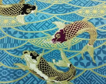 Koi fish, light blue, gold metallic, fat quarter, pure cotton fabric