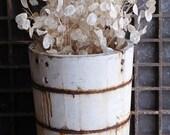 Antique White Wooden Ice Cream Bucket, White Chippy Paint Primitive Farmhouse Decor