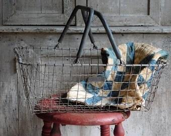 Vintage Industrial Metal Basket with Handles, Shopping Market Basket
