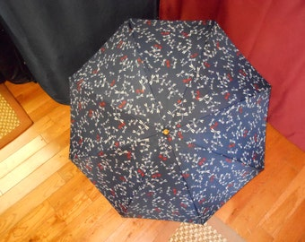 RESERVED Kathleen Fabric UMBRELLA  PARASOL Vintage Japanese  water resist Navy Blue Dragonflies White  Red with sleeve dimension s  below
