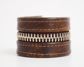 Brown Leather Cuff Bracelet with Silver Zipper