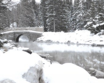 Lake Louise Photography Print 12x18 Fine Art Banff Canada Black and White Forest Woodland Bridge Snow Winter Landscape Photography Print.