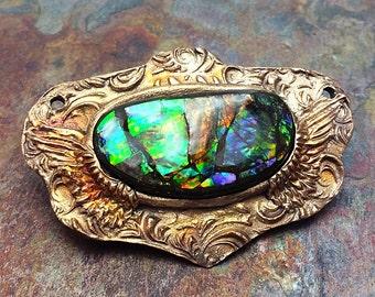 Iridescent Rainbow Ammolite Artisan Bronze PMC Statement Pendant