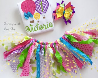 Hot Air Balloon Birthday Outfit -- Up Up and Away -- bodysuit, fabric tutu,  bow/headband in purple, hot pink, yellow, lime, turquoise