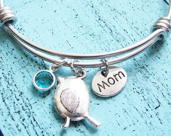 new mom gift,  baby shower gift, for mom bracelet, mama bird, birthstone jewelry,mother gift, for her, gift for wife, mom birthday gift