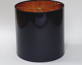 "10"" Diameter"" X 15"" Tall Drum Lamp Shade in Black Glossy Paper with Metallic Gold Inside"