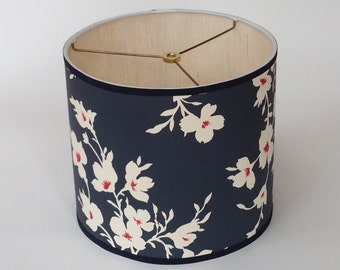 Sample Sale! Small Drum Lamp Shade in Blue Floral Paper with Grass Cloth Lining