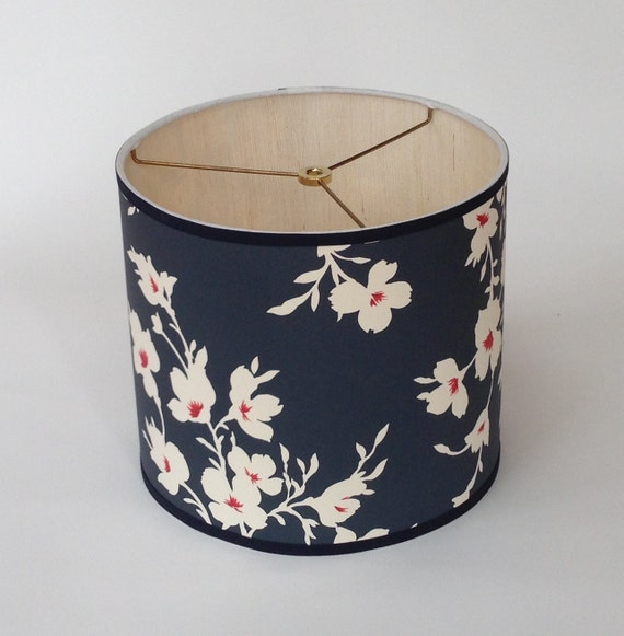 sample sale small drum lamp shade in blue floral paper with. Black Bedroom Furniture Sets. Home Design Ideas