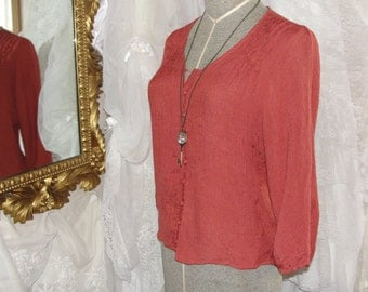 Vintage gauze top with fabric buttons