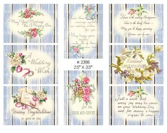 Digital collage, instant download, Vintage Wedding Images, roses, ribbons, bells, flowers, greetings--8.5 by 11--Digital Collage Sheet 2398