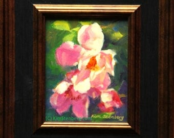 "Rose Painting, Floral Painting, Original Oil Painting, 5 x 4"",""Summer Roses"" by Kim Stenberg, Rich Impressionistic Art, Framed"