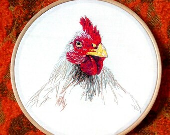 Chicken Embroidery Hoop. Country Home Decor. Rustic Gift.