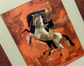 mid century artwork, stallions, horses, mid century modern, framed, tintogravure print, wall hanging, mod,  E. Fred Anderson, equine art,