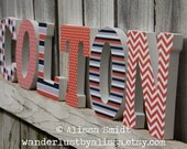 Custom Nursery Letters, Custom Wooden Letters, Baby Boy, Baby Girl (geometric patterns, polka dots, stripes, chevron, navy) 7 Inch Size