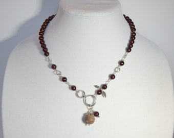 Brown Pearl Bird Necklace