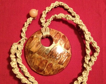 Round Wood: Handmade Necklace Featuring Hand Woven Hemp and Wooden Pendant