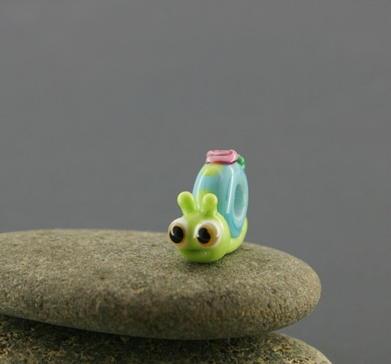 Snail charm necklace bead miniature sculpture figurine Glass jewelry lampwork big hole bead , large BHB bead , charm european bracelet