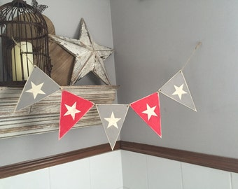 Painted Wooden Bunting, Star Pattern,  Set of 5 pennants, choice of colours